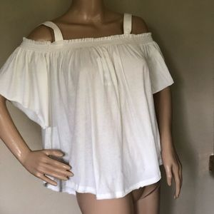 FREE PEOPLE IVORY SHORT SLEEVE SWING TOP M